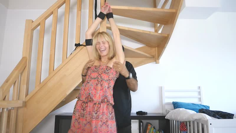 FrenchTickling The Beautiful Sandrine Is Tied To The Stairs Tickled