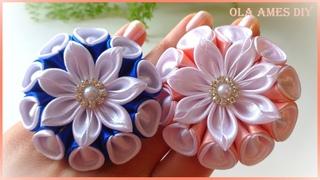 😍Посмотрите Какие КРАСИВЫЕ❤️️ Цветы-Зефирки из Лент ЛЕГКО! Ribbon Flower Tutorial/Kanzashi/ Ola ameS