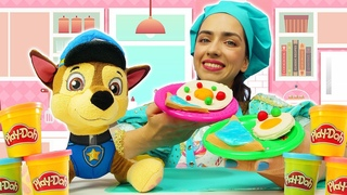 Видео для детей. Готовлю игрушкам - Чем Щенок Чейз из м/ф Щенячий Патруль будет завтракать?
