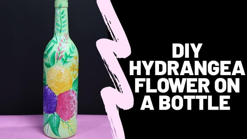 DIY Hydrangea flower painting on bottle by Asha Neog DIY bottle Painting ANG Creations