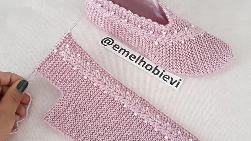 İki Şiş Boncuklu Buğday Başağı Patik Yapılışı 36 37 Numara İçin Knitting Slippers Pantufas DIY