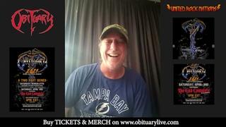 Interview avec John Tardy d'OBITUARY pour les live stream  Metal is Contagious + The End Complete !