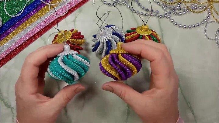 Ёлочные игрушки из фоамирана своими руками - diy christmas ornaments glitter foam