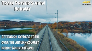 4K CABVIEW: Autumn Color Express train over the mountain pass