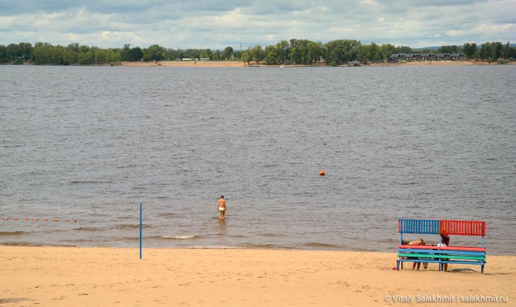 Купание на пляже Самары 2020