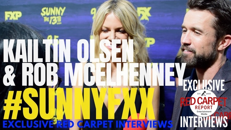 Kailtin Olsen Rob McElhenney interviewed at FXX Premiere for It's Aways Sunny S13 SunnyFXX