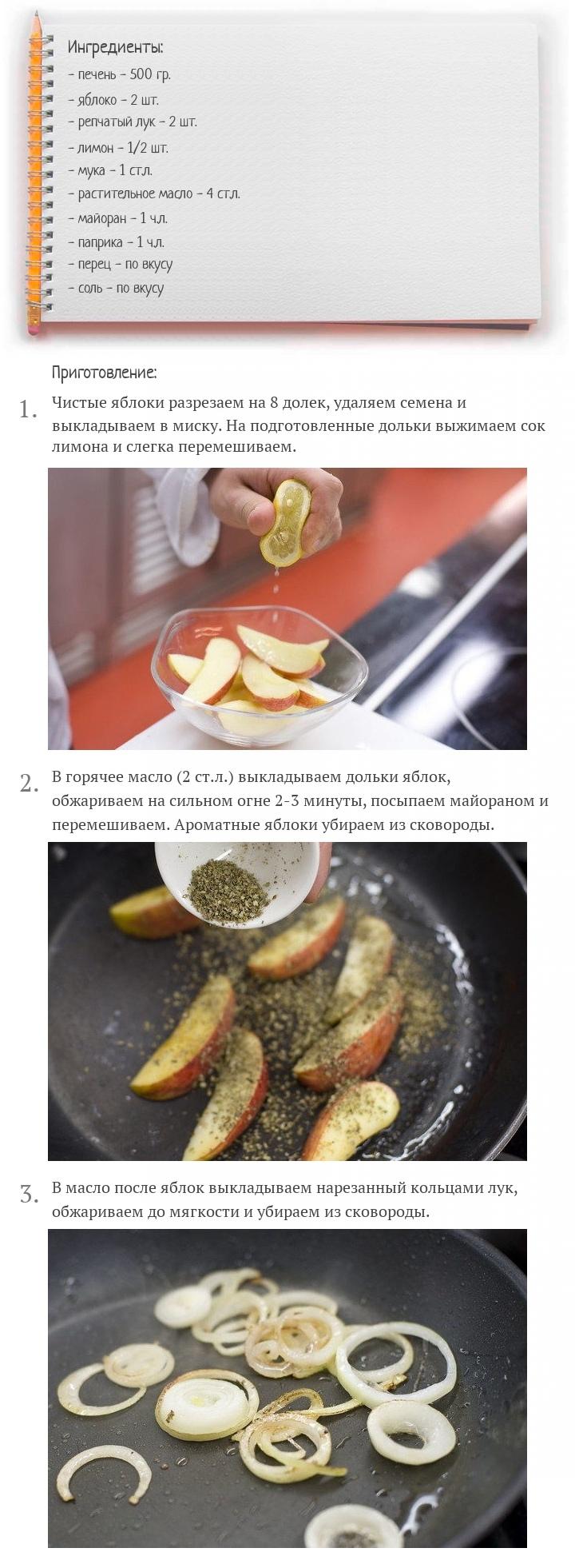 Жареная куриная печень с яблоками, изображение №2