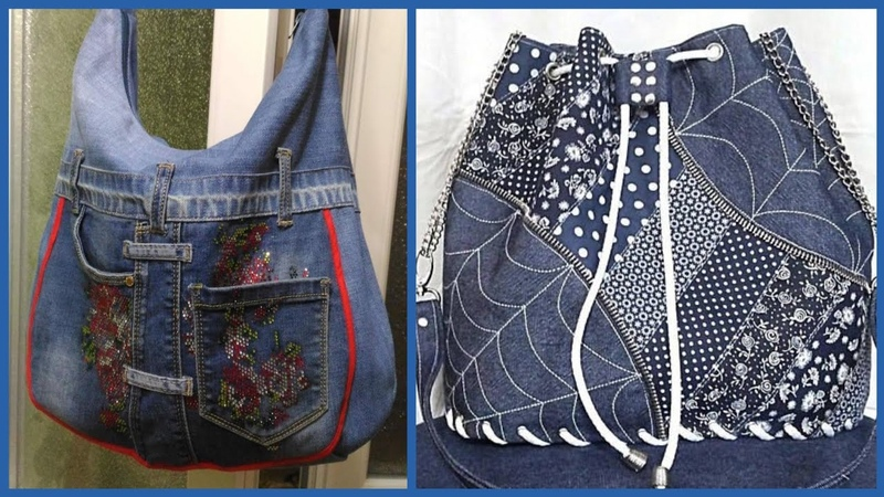 New stylish embroidered applic work Denim handbag beautiful collection