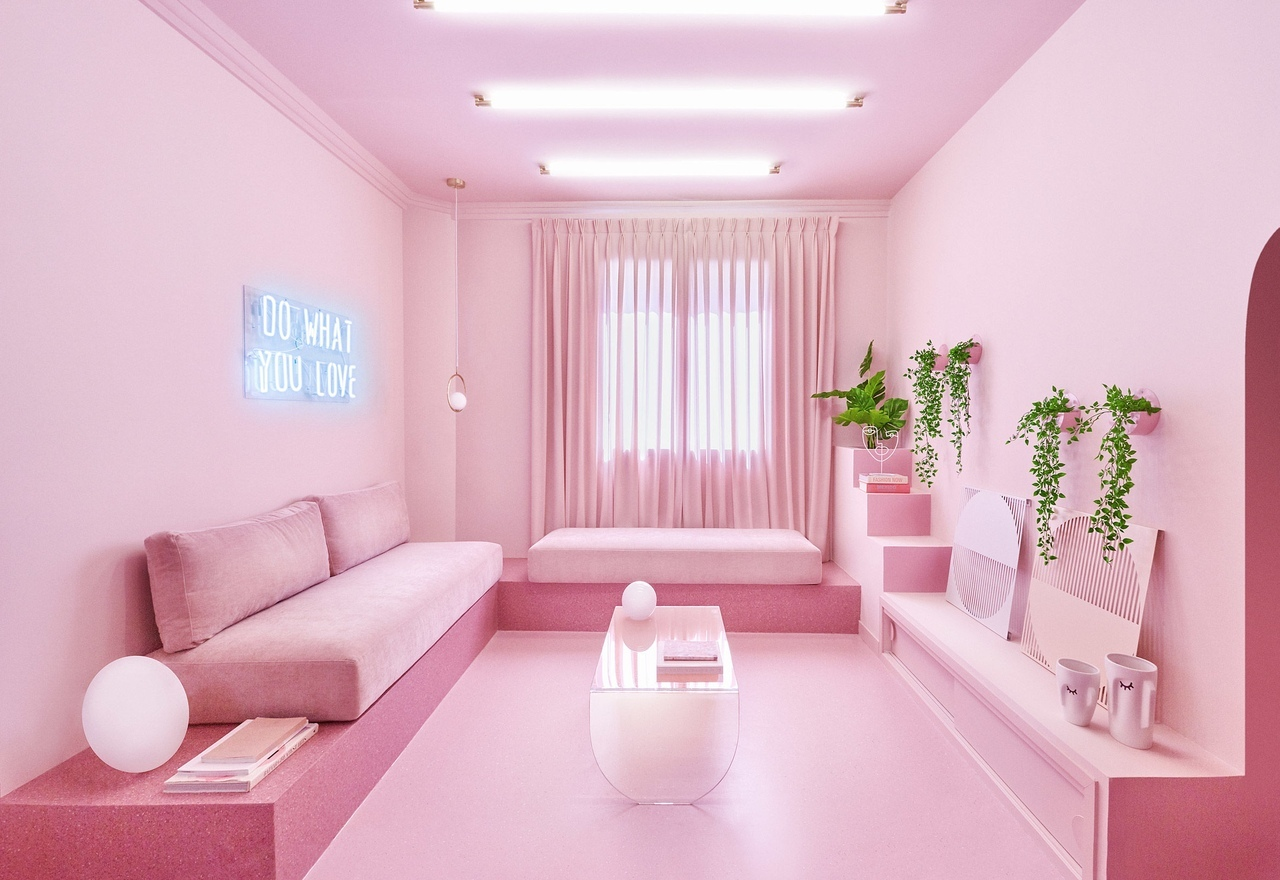 Minimal Fantasy holiday apartment in Madrid is almost completely pink