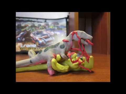 Аллозавр против Нечта Dinosaurs Fight Claymation Мезозойские битвы 4