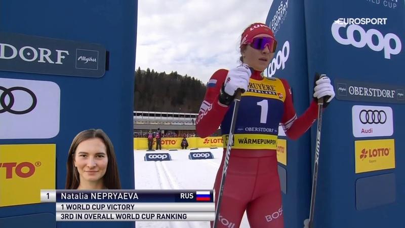 Наталья Непряева побеждает в классической спринтерской гонке в Оберстдорфе 26 01 2020