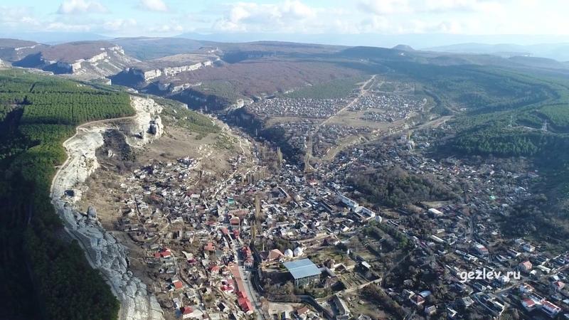 Крым Ханский Дворец в Бахчисарае панорама города и окрестностей вид с квадрокоптера