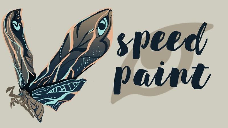 SPEEDPAINT арт по фильму Годзилла 2 рисую Мотру иллюстрация в фотошопе Adobe Photoshop