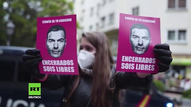 Sie haben die Corona Maßnahmen satt Fünfter Tag in Folge wütender Protest in Madrid