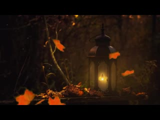 AUTUMN WOODS NIGHT AMBIENCE - Fire Crackling, Candle Burning, Leaves Falling, Cricket 1 HOUR