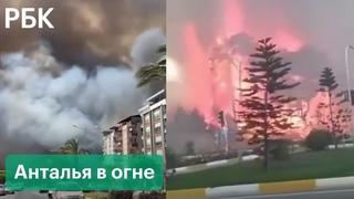 Сильные лесные пожары бушуют в Анталье. Огонь подошел к гостиницам и жилым домам