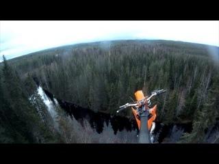 StuntFreaksTeam - Antti Pendikainen 40m Motocross parachute jump!