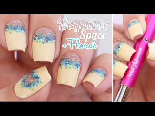 "Half Moon / Heart Negative Space + Floral || using Whats Up Nails ""Dance"" brushes"