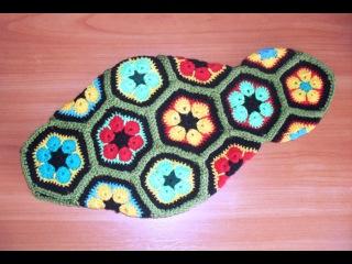 Африканский цветок. Четырехугольный мотив. Вязание саламандры