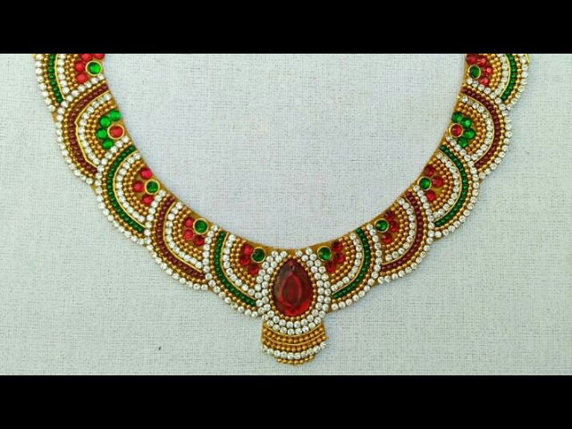 How To Make Designer Necklace How Make Bridal Necklace DIY Home Made Tutorial