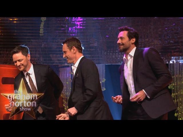 Michael Fassbender Hugh Jackman James McAvoy Dance to Blurred Lines The Graham Norton Show