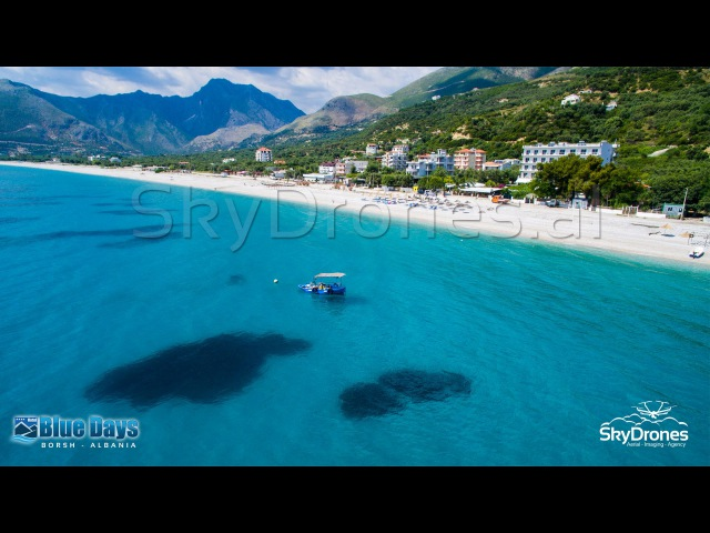 Borsh Albania Aerial Drone Video South Riviera Beach Blue Days Hotel Shqiperi
