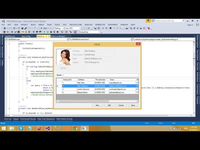 C Application Insert Delete Update Select in MS Access Database FoxLearn