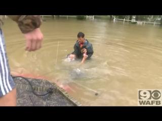 Женщину с собакой спасли в последние секунды при потопе в американском Батон-Руж