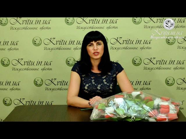 Новинки в интернет магазине № 949 Букет бутон красно белый 48см