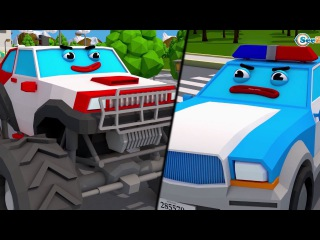 Cop Car With Monster Truck Car Accident | Police Car 3D Animation for Kids Cars Team Cartoons