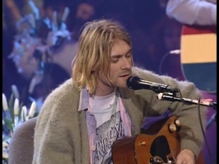 1993 kurt cobain and nirvana unplugged. mtv special live concert in new york (usa).