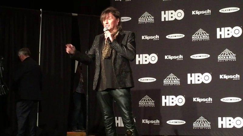 Richie Sambora of Bon Jovi interviewed after the band's 2018 Rock Hall induction
