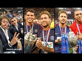 Neymar joined  his PSG team mates to celebrate the French Cup