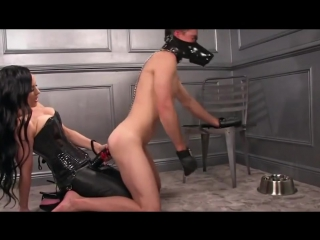 Puppy slave fucked by giant strapon