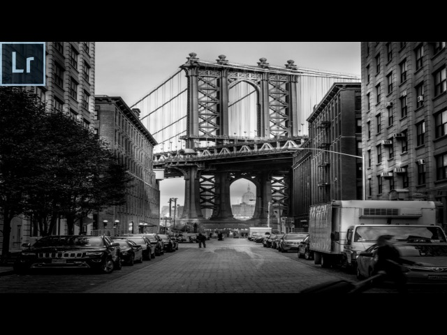 Black and White Street Photography Editing in Lightroom 6 2016 The Brooklyn Bridge