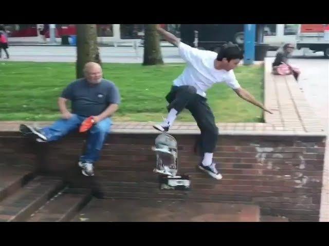 INSTABLAST! - Old Man Skate Stopper!?!! 360 Flip on SKETCHY ICE POND!! Full Cab Bs Noseblunt Hubba!!