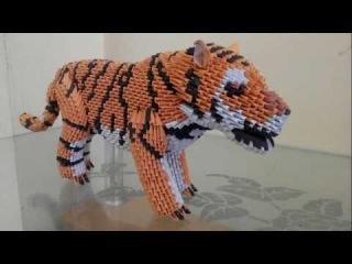 tutorial origami 3D Tiger (harimau indonesia) part 4