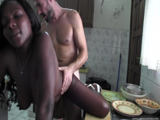 ✪ p o r n t i m e ✪ delicious african hooker suddenly fucked in the kitchen hd