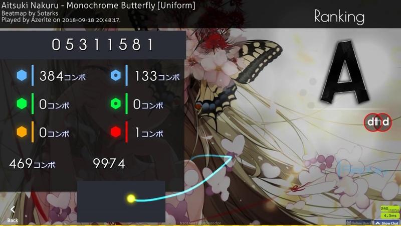 Osu! | Azerite | Aitsuku - Monochrome Butterfly [Uniform] HD,DT | 99.74% 1xmiss | 768pp 2 8.51★