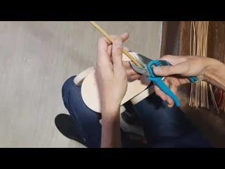 Процесс работы над плетеной коляской для кукол Bonia