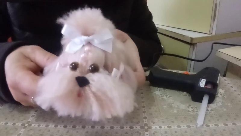 Cachorrinho de lã com corpo de fuxico