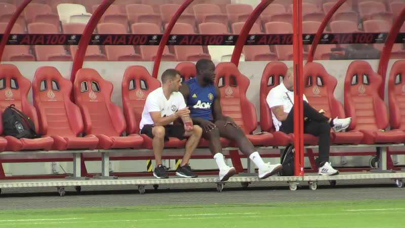 Romelu Lukaku watched training from the bench at Singapores National Stadium as MUFC prepare to face Inter