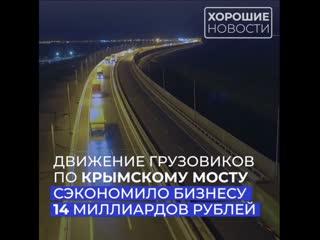 Движение грузовиков по Крымскому мосту позволило бизнесу сэкономить 14 млрд рублей