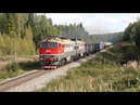 Грузовые поезда на перегоне Добывалово - Валдай Октябрьской железной дороги.