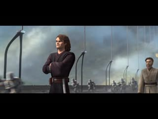 """Cody and the 212th join in on the """"fun"""" while Anakin and Obi-Wan stand together."""