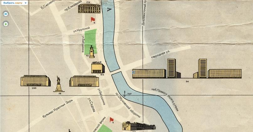 Иллюстрированная карта достопримечательностей Ленинграда за 1967 год. http://www.etomesto.ru/map-peterburg_1967-turist/