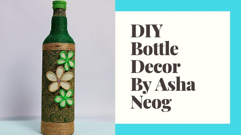 DIY bottle decor using Corrugated sheet Jute Yarn bottle decor ANG Creations Asha Neog
