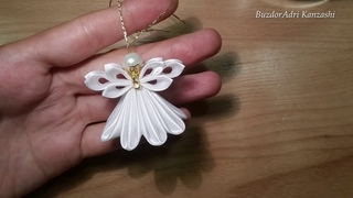 DIY Kanzashi angyal 02 / Christmas Kanzashi angel / satin ribbon angel / Karcsonyfa dsz ksztse