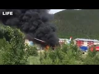 Первые секунды после аварийной посадки Ан-24