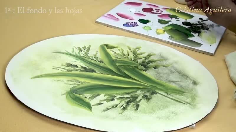 Pintar un ovalo con tulipanes. 1 parte el fondo y las hojas
